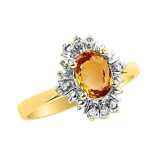 Diamante y citrino anillo conjunto en oro amarillo de 14 K diamantes de fantasía