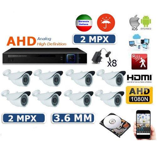 allarmshop Kit VIDEOSORVEGLIANZA AHD IP Cloud DVR AHD 8 CANALI -8 TELECAMERE 48 LED 2 MPX - 8 ALIMENTATORI per TELECAMERE - Hard Disk 500 GB