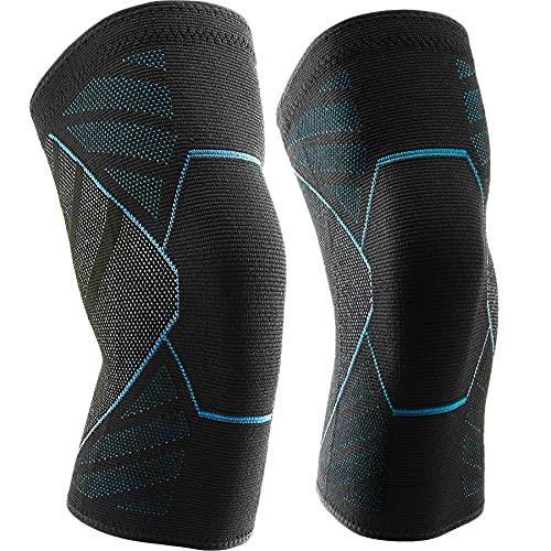Kniebandage 2 Pack Kniebandage für Knieschmerzen Fit für Männer und Frauen – rutschfeste Kniebandage für Laufen, Basketball, Gewichtheben, Fitnessstudio, Workout, Sport – M