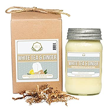 Aira Soy Candles - Organic, Kosher, Vegan, in Mason Jar w/Therapeutic Grade Essential Oil Blends - Hand-poured 100% Soy Candle Wax - Paraffin Free, Burns 110+ Hours - White Tea & Ginger -16 Ounces