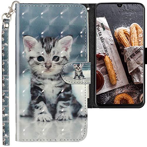 CLM-Tech Hülle kompatibel mit Samsung Galaxy M30s - Tasche aus Kunstleder - Klapphülle mit Ständer & Kartenfächern, kleine Katze