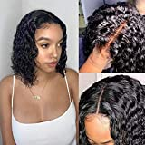 10 Inch Short Bob Wigs Human Hair 4x4 Lace Closure Wigs Brazilian Virgin Human Hair Water Wave lace Front Wigs for Black Women Pre Plucked with Baby Hair Natural Black 150% Density (10 inch)