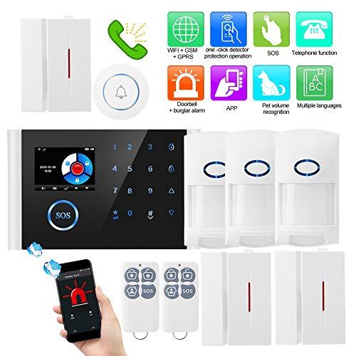 Kit de Alarma Antirrobo Inalámbrica WiFi, gsm y GPRS con LCD Pantalla, Infrarrojo Dual + Reconocimiento de Volumen Inteligente + Detección de Espejo, App Alarma Remota