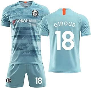 Hhwei Away Football Soccer Kids Jersey Short Socks Set Youth Sizes Chelsea Football Club #18 Olivier Giroud,XL
