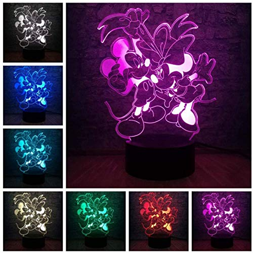 Lampe 3D de bande dessinée Mickey Mouse Minnie Friends enfants Led Night Light 7 changement de couleur USB Base Noël décoratif enfant cadeau jouet