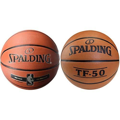 Spalding NBA Silver Outdoor 83-568Z Balón de Baloncesto, Unisex, Naranja, 5 + TF50 Outdoor 73-852Z - Pelota de Baloncesto, Color Naranja, Talla 5