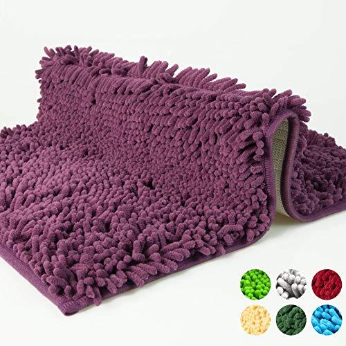 Badmat, badkamermat, badkamervloerkleed antislip, bad vloerkleed violetpaars, uitwasbaar, mat van Chenille microvezel voor de badkamer, getest op schadelijke stoffen, 50x80cm