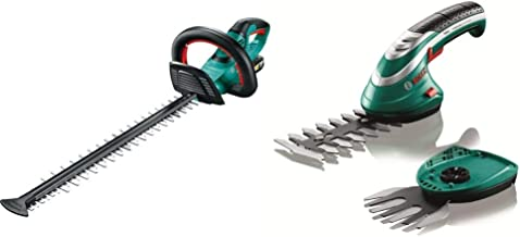 Bosch Cordless Hedge Trimmer AHS 50-20 LI (1 Battery, 18 V System, Stroke Length: 20 mm) & Cordless Edging Shear Set Isio...