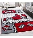 Carpettex Teppich Tapis Enfant Formule 1 Voiture de Course Kids 0460 Rouge - 80x150 cm