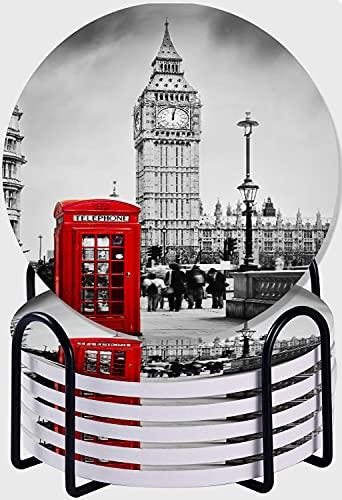 GUVICINIR Juego de 6 Posavasos de cerámica Absorbente con Base de Corcho,Apto para Tipos de Tazas,Cabina de teléfono roja del Big Ben de Londres Retro en el Paisaje Urbano de Old Street