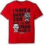 Star Wars Boys' Big Afraid to Use My Dark Side Graphic Tee, red, YXS