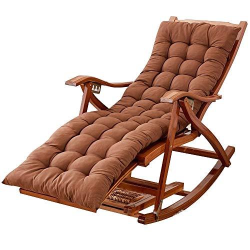 Bseack Chaise berçante, chaise longue réglable multifonctionnelle en bois plein avec la chaise berçante paresseuse extérieure de ménage de repose-pieds/salon (Couleur : B)