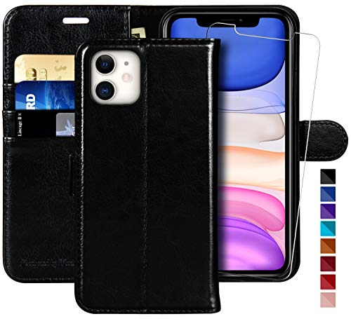 MONASAY - Funda para iPhone 11 (6,1 pulgadas, protector de pantalla de cristal incluido), bloqueo RFID, funda de piel con tarjetero para iPhone 11