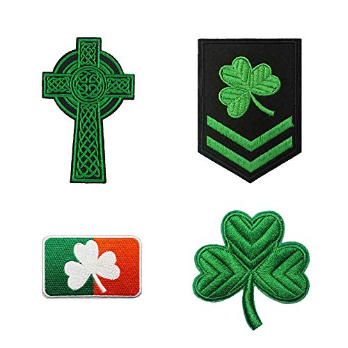 4pc Set Irish Clover Flag Green Cross Embroidered Iron on Patches Shamrock Emblem
