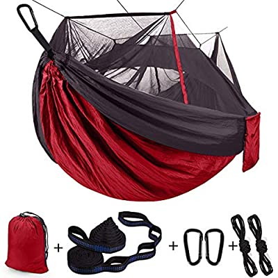 Single & Double Camping Hammock with Net Mosquito/Bug | Included Tree Straps and Carabiners, Parachute Nylon | Easy Assembly, Lightweight, Portable | Indoor Outdoor Backpacking - Full Size, Red Gray