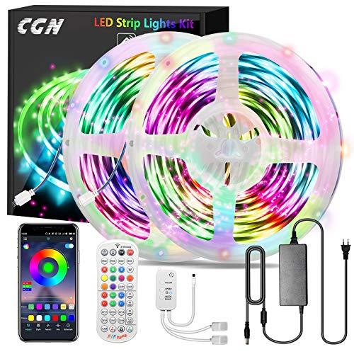 30M LED Strip Bluetooth, CGN LED Streifen RGB 5050 Smart LED Lichtleiste selbstklebend mit fernbedienung und APP Steuerung Musik/Sound Sync Beleuchtung Decoration Ambient für Zuhause und Festival