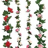 Cocodeko 4 Pack Artificiales falsos rosa flores de seda con verde hojas de vid plástico p...