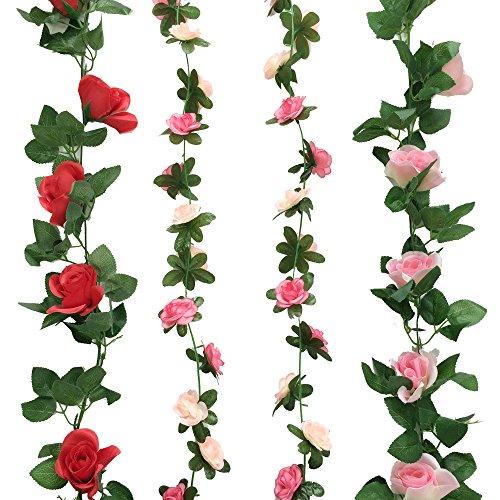 ZERODECO Lot de 4 lianes de roses artificielles en soie avec feuilles vertes en plastique à suspendre, Guirlande/ Couronne de fleurs artificielles pour la maison, la cour, la clôture