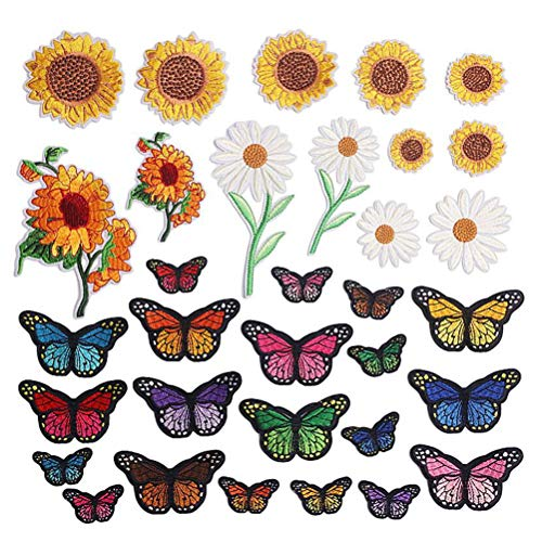 tuhanying-us 33 PCS Sunflower Embroidered Iron on Patches Embroidery Sew on Applique Repair Patches for Backpack Shoes Jacket Clothing Jeans Repair Patch