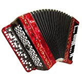 Brand New Tulskiy Bayan Russian Buton Accordion Etude 205M2 made in Tula, Russia, incl. Straps, Case, BN 40 Red, Perfect Sound!