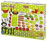 Jouets Ecoiffier – 2659 - Coffret dînette 100 % Chef Multicolore – Vaisselle, Ustensiles de Cuisine et Aliments – 100 Pièces – Dès 18 mois – Fabriqué en France