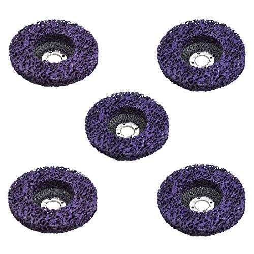 """5Pcs 4"""" Poly Strip Disc Wheel Paint Rust and Oxidation Removal Clean for Angle Grinder Purple for Surface Preparation Conditioning and Finishing"""