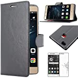 ebestStar - Coque Huawei P9 Lite, G9 Lite Etui PU Cuir Housse Portefeuille Porte-Cartes Support Stand, Noir +Film Protection...