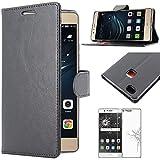 ebestStar - Funda Compatible con Huawei P9 Lite, G9 Lite Carcasa Cartera Cuero PU, Funda Billetera Ranuras Tarjeta, Función Soporte, Negro + Cristal Templado [Aparato: 146.8x72.6x7.5mm 5.2']