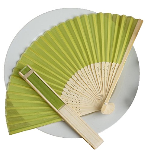 BalsaCircle 50 Sage Green Decorative Silk Fabric Folding Handheld Hand Fans - Wedding Birthday Party Favors Decorations Supplies