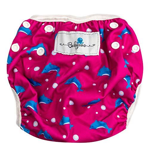 Babyino Wiederverwendbare Schwimmwindel für Babys (Pink Delphin) 6 bis 36 Monate Größe Verstellbar