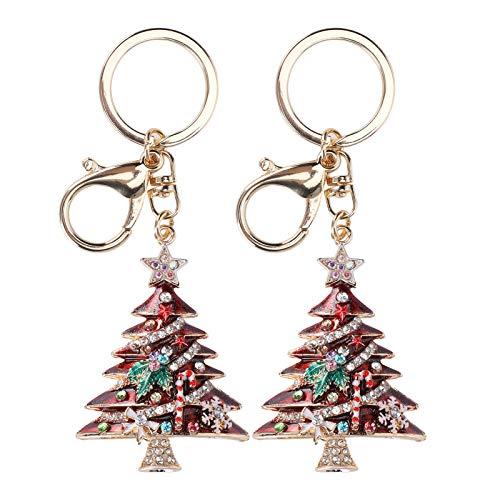 NoBrand Pendentif Porte-clés 2 pièces, Porte-clés Arbre de noël, Porte-clés Perle Diamant, Accessoire de décorations de Sac à Breloques(Rouge)