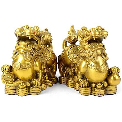 "Feng Shui pixiu/pi yao Brass Statue Home Decor A Pair Figurine Attract Money and Good Luck Wealth Decoration Sculpture Golden(3.2"" L x 1.6"" W x 2.8"" H)"