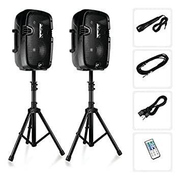 Powered PA Speaker System Active & Passive Bluetooth Loudspeakers Kit with 8 Inch Speakers Wired Microphone MP3/USB/SD/AUX Readers Speaker Stands,Remote Control - Pyle PPHP849KT Black