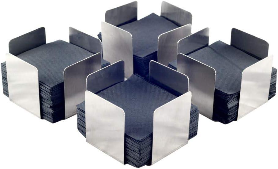 Hostelnovo - Servilletero Ideal para servilletas de cóctel - Servilletero de Acero Inoxidable - 11x11x7 cm - Pack de 4 servilleteros. Incluye 400 servilletas Negras de micropunto.