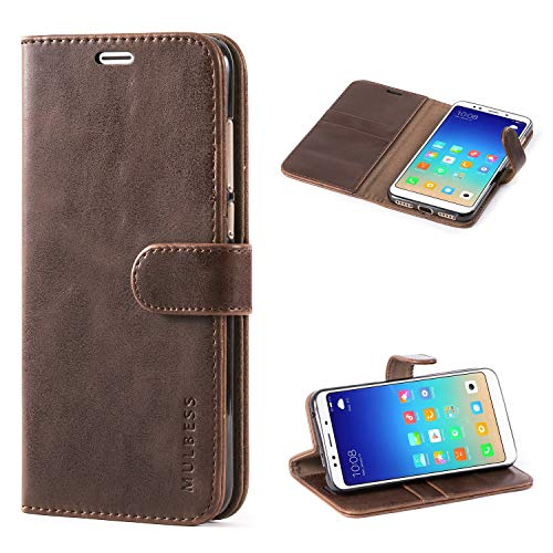 Mulbess Funda Xiaomi Redmi 5 Plus [Libro Caso Cubierta] [Vintage de Billetera Cuero de la PU] con Tapa Magnética Carcasa para Xiaomi Redmi 5 Plus Case, Vintage Marrón