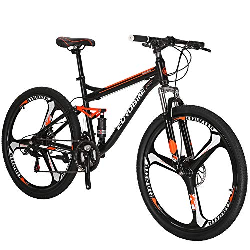 OBK S7 Full Suspension Mountain Bike 21 Speed Bicycle 27.5 inches Mens MTB Disc Brakes Orange (3 Spoke mag Wheels)
