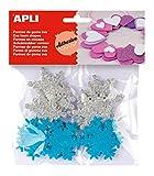 Goma EVA APLI Formas Adhesivas con Purpurina Copo Nieve Bolsa de 22
