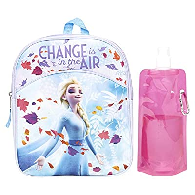 Disney Frozen Backpack Combo Set - Frozen 2 Anna & Elsa 3 Piece Mini Backpack Set - Backpack, Water Bottle and Carabina (Elsa Mini)