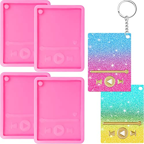 4 Pieces Media Player Keychain Resin Molds Silicone Video Player Epoxy Craft Keychain Mold Polymer Clay DIY Jewelry Mold for Crafts Making Supplies (Pink)