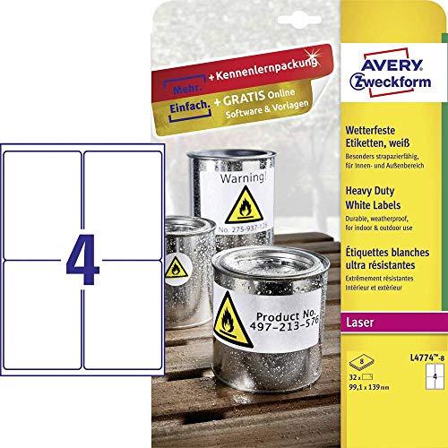 Avery España L4774-8-Etiquetas blancas resistentes al agua, imprimibles, Caja de 32 etiquetas, Color Blanco, 99.1 x 139 mm