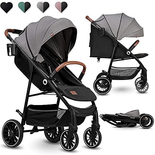 LIONELO Alexia silla de paseo hasta 15 kg posición tumbada capota XXL con material protector solar ruedas PU bolsa...