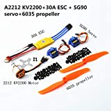 Alician A2212 2200KV Brushless Motor 30A ESC SG90 9G Micro Servo 6035 Propeller for RC Fixed Wing Plane Helicopter