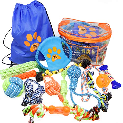 Dog Toys - 13 Puppy Dog Rope Toys - Chew Toy for Puppy Small and Medium Dogs - Puppy Chew Toys - Dog Toy Pack - Set of 13 Chew Toys and Teething Toys with Bonus Storage Bag