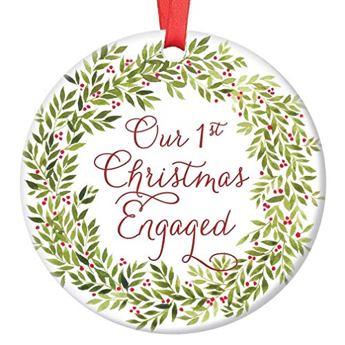 First Christmas Engaged Ornament Pretty Green Wreath Engagement Party Present 1st Holiday Engaged Couple Gift Future Bride Groom Mr Mrs Wedding