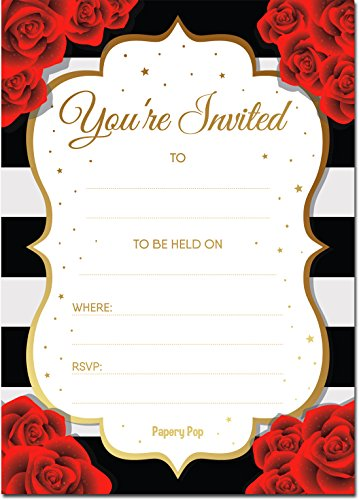 30 Invitations with Envelopes - Bridal Shower Invitations, Wedding Shower Invitations, Bachelorette Party Invitations, Birthday Invitations