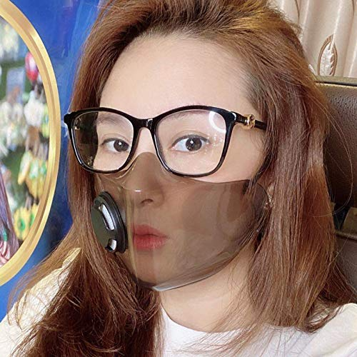 Koippimel 1Pc, Clear Face_Mask Washable Reusable, Transparent_Masks with Breathing Valve, for Restaurant, Fast Food, Chef, Deaf and Hearing Impaired People, Lip Reading, 1201 Style_123