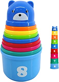 9 Pieces Stacking and Nesting Cups Early Learning Toys,Educational Rainbow Stacking & Nesting Cups Baby Building Set Stacking Cups Early Educational Toddlers Toy for Baby