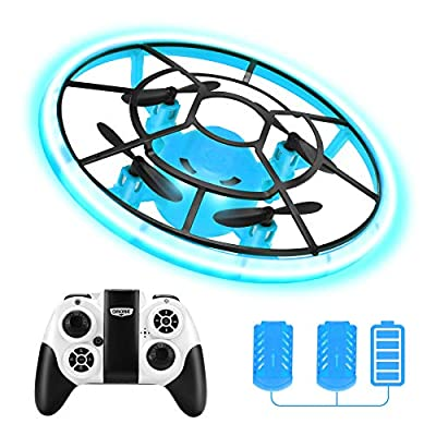 Rolytoy VraiJouet Mini Drone for Kids, RC Drone for Beginners with Neno Light, RC Helicopter Quadcopter with Altitude Hold, 2 Batteries and Remote Control, Kids Gifts Toys for Boys Girls (Grey)