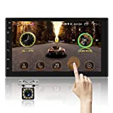 Double Din Car Stereo Android Bluetooth Car Radio 7'' Touchscreen GPS Navigation Indash Head Unit with WiFi Mirror Link FM Radio 2USB with Rear View Camera
