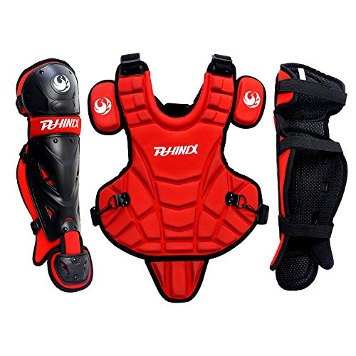 PHINIX Catcher Chest Protector and Leg Guards,Recommended for Ages 6-9 (Red)